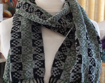 Handwoven Rayon Chenille Checked Scarf