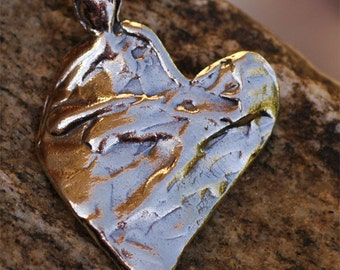 Big Textured Heart Pendant in Sterling Silver