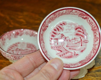 Vintage Butter Pats, Enoch Wood, English Scenery, Woods & Sons, Ironstone, Red Transferware, England, Mothers Day Gift for Her, Gift for Mom