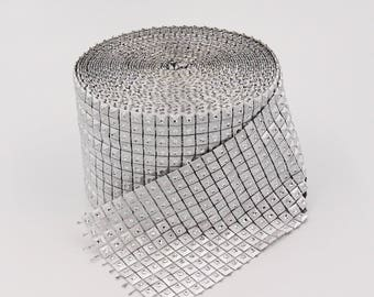 Silver Diamond Rhinestone Ribbon Wrap Bling, Party Supplies, Wedding Cake Vase Decorations, Bridal Shower, 4.8 in x 30 ft
