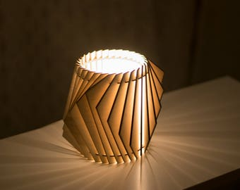 Shuffle - Winged Table Lamp - Wooden Accent Light - Laser Cut Geometric Lamp Shade
