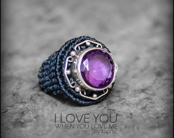 Amethyst Silver 925 Macrame Ring