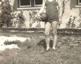 """Vintage Photo """"On The Ball"""" Athletic Man Wearing Singlet & Shorts Holding Basketball Or Volleyball Found Vernacular Photo"""