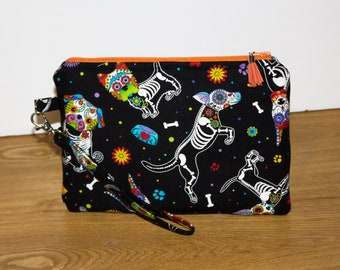 Dog Wristlet - Dog Purse - Gift for Dog Lovers - Creepy Cute Bag - Cell Phone Wallet - Skeleton Dogs - Day of The Dead Dog Bag -Phone Wallet