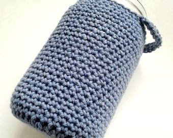SALE - Crochet mason jar cover, blue, quart size, wide mouth jar cozy