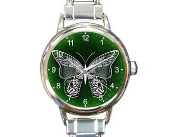 Butterfly Emerald Green Italian Charm Watch Bracelet with 16 Links included!