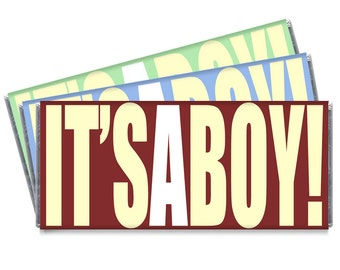 Set of 12 - It's A Boy Baby Shower Personalized Candy Bar Wrappers - It's a Boy Favors