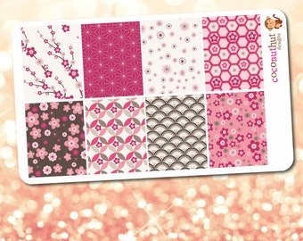 Cherry Blossom / Spring / Pink Flowers Full Box Planner Stickers