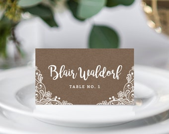 INSTANT DOWNLOAD Wedding Place Cards, Lace Printable Wedding Place Card, Rustic Wedding Name Cards Template, DIY Table, Templett, W04