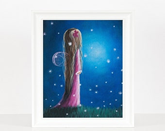 Night Of 50 Wishes - Fairy Art Print - Gift For Daughter - Dreamy Landscape - 8x10 Inches - Limited Editions - New Baby Girl Gifts