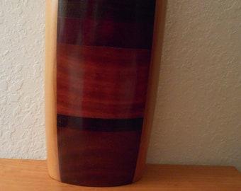 Artisan hand-made wooden vase using multiple woods, cherry, rosewood, oak, black walnut