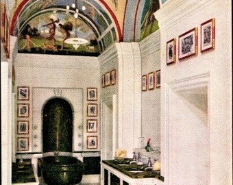 c.1930s QUEEN Elizabeth's DOLLHOUSE Furniture; The King's Bathroom; Raphael Tuck & Sons Postcard No. 4502; Series III; Mint Condition
