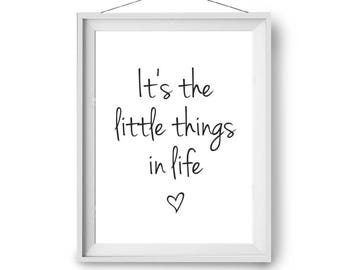 It's The Little Things Print, Quote Art, Scandiavian Print, Inspirational Art, Typography Print, Black & White Print, 60x90 cm Print Avenue