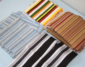 Fabric Scrap Bundle, Striped Canvas and Duck Scraps, 100% Cotton Fabric, 12 oz