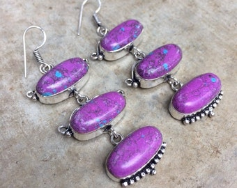 Purple and silver mosaic rainbow Jasper cabochon earrings.