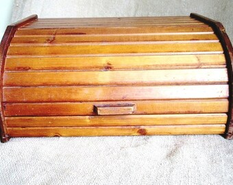 "Wood Bread Box with Faux Roll Top Lift Lid, 16"" Vintage Kitchen Storage"