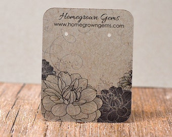 Customized Jewelry Display Cards - Earring Cards Black White Flowers Floral Necklace Cards Tags DS029
