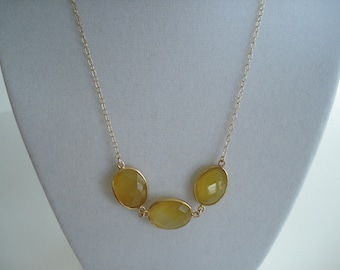 3 Stone Journey Necklace, Gold Necklace, Chalcedony Necklace, Yellow Necklace, 17 inch gold necklace