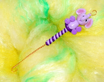 Purple Elephant Spinning Wheel Orifice Hook - Polymer Clay
