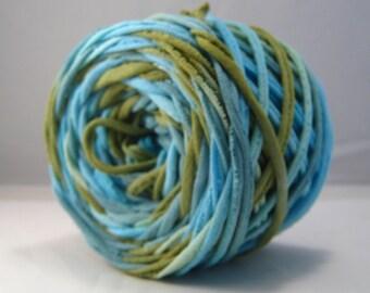 T-Shirt Yarn, Hand Dyed, Aqua, Sour Apple, Teal,  60 Yards, TShirt Yarn, Blue Tshirt Yarn, Cotton Yarn ,