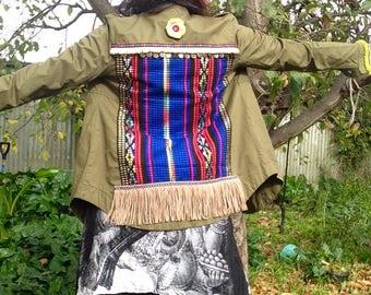 Embellished Army jacket-Bohemian gypsy styled.