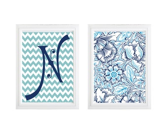 Personalized blue monogram print wall decor, Set of 2 initial letter print