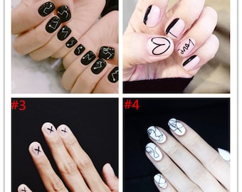 NAIL ART Decals Black Heart question error mark Waterslide Decal Water Slide Decal Stickers Rune Candle Decals