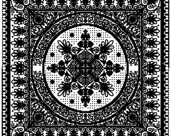Monochrome tablecloth flower pattern for cross stitch