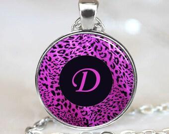 Letter D - Purple Leopard Print Monogram Handcrafted  Necklace Pendant (PD0082)