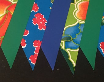 KIT #22 (1 pk) Jungle Flowers 15' Oilcloth Pennant Banners Bunting Flag Garland Party Shower Camper Photo Prop