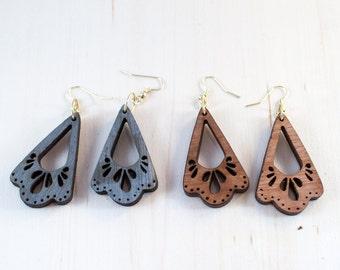 Scalloped Dangle Earrings | Wood Engraved Earrings | Dangling Wood Earrings