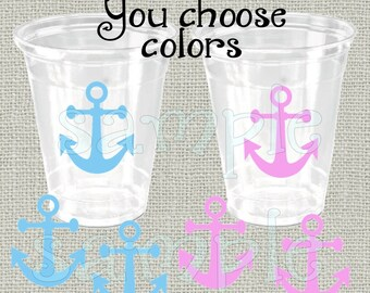 24 assorted anchor vinyl decals anchor gender reveal party decorations Anchor birthday party vinyl cup stickers nautical stickers anchors