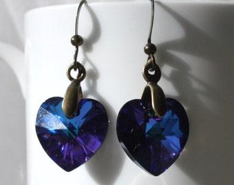 Sparkling Blue / Purple Swarovski Crystal Heart Earrings