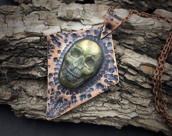Labradorite Skull Necklace | Copper Smithed | Copper Jewelry