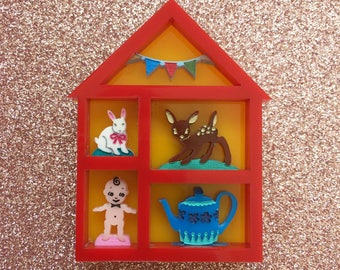 Collectors Shadowbox Mini Brooch - Red