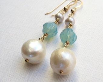 Baroque White Pearls Opal Crystal Earrings