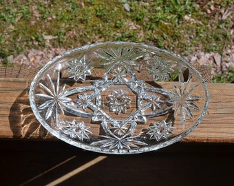 Vintage Star of David Glass Oval Bowl Candy Dish Pressed Glass Anchor Hocking Tea Party Wedding  PanchosPorch