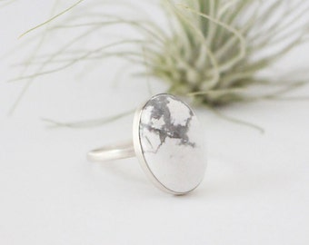 Oval Marble Ring - Sterling Silver, 18x13mm White Howlite