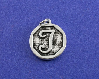 1 pcs-Initial T Charm, T Alphabet Pendant, Antiqued Silver Letter T Coin-As-K85350H-8S