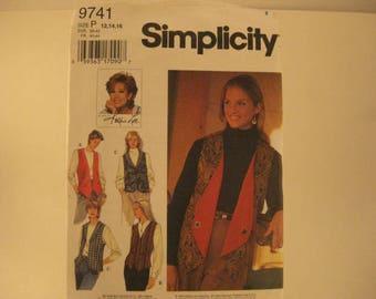Simplicity Sewing Pattern 9741 P sz 12-14-16 Misses' Set of Reversible Vest [L35]