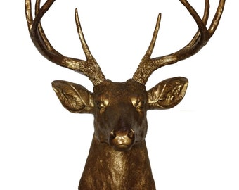 Bronze Deer Head Mount Wall Statue. Faux Taxidermy Fake Deer Head.