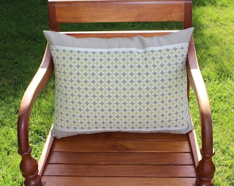 Geometric pillow cover lime taupe and ecru linen back