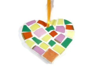 Small Multicoloured Mosaic Heart