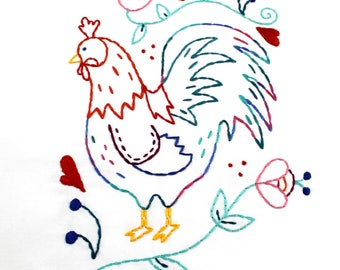 Rooster. Hand Embroidery Pattern. Embroidery Design. Chickens. Coop. Cockadoodledo. Farm house. Country life. Chicken Lover. Embroidery Hoop