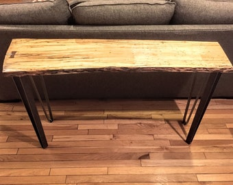 Beautiful Spalted Maple Live Edge Slab Entry or Sofa Table