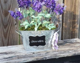 Bouquet de lavande anglaise tableau galvanisé baignoire seau ferme Français Shabby chalet Style mousse anglais jardin mariage printemps Pâques