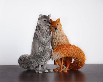 Wolf & fox statue - original handmade OOAK sculpture wolf figure fox statuette animal figure figurine creature totem