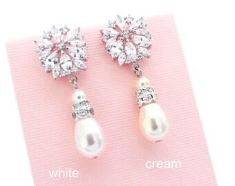Pearl drop, wedding earrings, pearl bridesmaid earrings, bridal drop earrings, crystal bridesmaid jewelry, pearl wedding jewelry, bride
