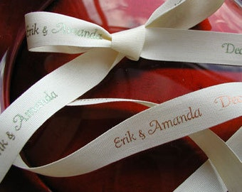 "Personalized Printed Favor Ribbon, Eco-Friendly Receycled Cotton, 5/8"" Continuous Print for Wedding, Party, Birthday - 15 Yards"