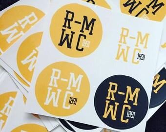 Round R-MWC sticker sheet Randolph-Macon Woman's College